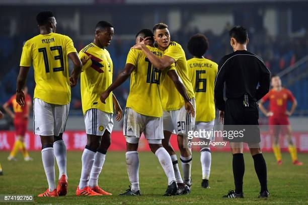 Giovanni Moreno of Colombia celebrates after scoring a goal during International Friendly Football Match between China and Colombia at the Chongqing...