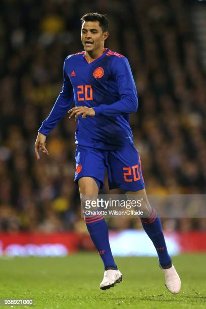 Giovanni Moreno of Colombia during the International Friendly match between Australia and Colombia at Craven Cottage on March 27 2018 in London...