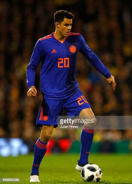 Giovanni Moreno of Colombia in action during the International Friendly match between Australia and Colombia at Craven Cottage on March 27 2018 in...