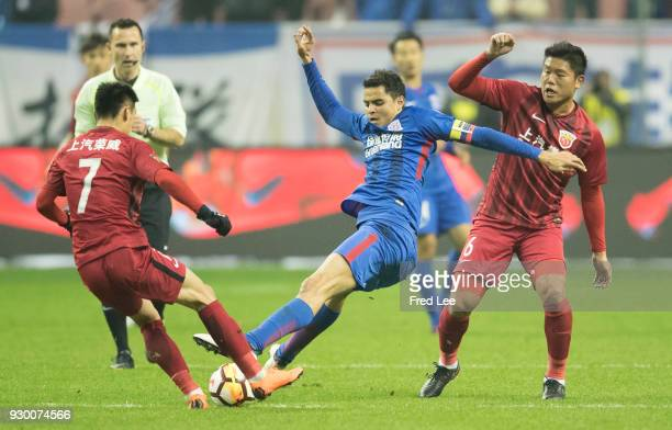 Giovanni Moreno of Shanghai Greenland Shenhua in action during the 2018 Chinese Super League match between Shanghai Greenland Shenhua and Shanghai...