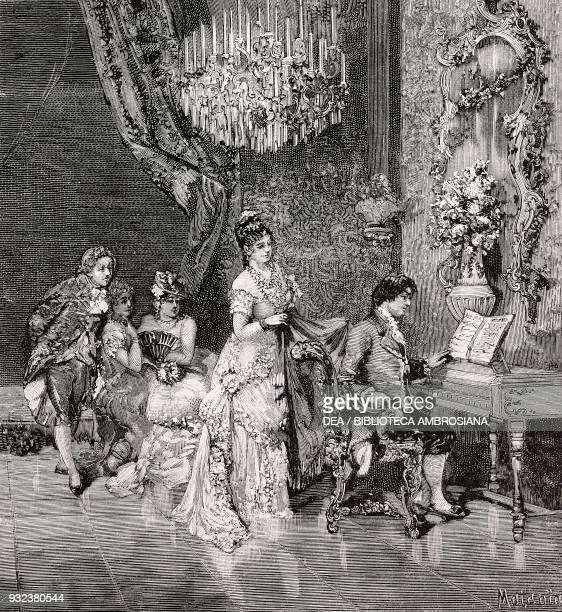 Giovanni Paisiello and Catherine II of Russia drawing by Edoardo Matania engraving from L'Illustrazione Italiana No 39 September 25 1881