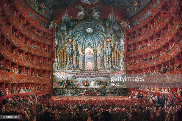 Giovanni Paolo Panini Italian painter Musical party given by Cardinal De La Rochefoucauld at the Argentina Theatre in Rome in 1747 Museum of Louvre...