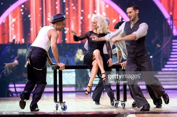 Giovanni Pernice Debbie McGee and Jake Leigh attend the 'Strictly Come Dancing' Live dress rehearsal at Arena Birmingham on January 18 2018 in...