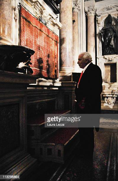Giovanni Pignatelli a Member of the Treasure of San Gennaro stands in front of the safe where the reliquary containing the two vials of the blood...