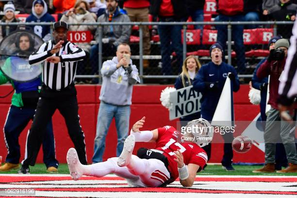 Giovanni Rescigno of the Rutgers Scarlet Knights can't haul in an uncontested touchdown against the Penn State Nittany Lions during the third quarter...