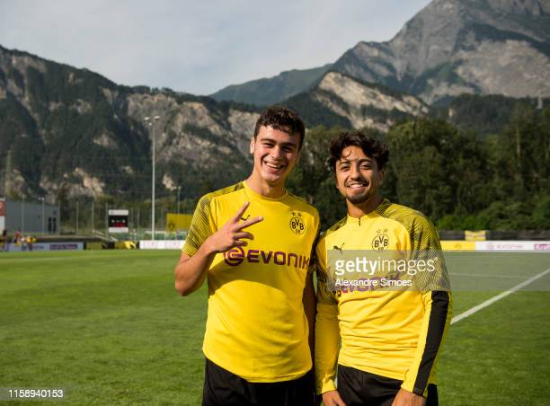 Giovanni Reyna and Immanuel Pherai of Borussia Dortmund during a training session as part of Borussia Dortmund's Training Camp on August 01 2019 in...