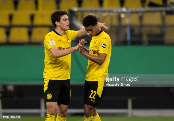 Giovanni Reyna and Jude Bellingham celebrate after scoring a second goal during the match between Borussia Dortmund and Holstein Kiel on May 01, 2021...