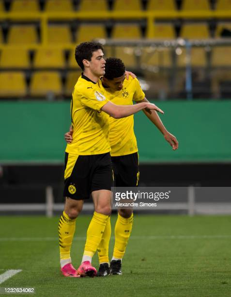 Giovanni Reyna and Jude Bellingham celebrate after scoring the second goal during the match between Borussia Dortmund and Holstein Kiel on May 01,...
