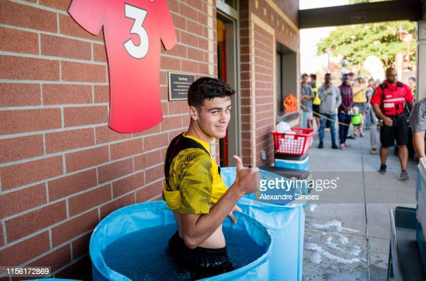 Giovanni Reyna of Borussia Dortmund after a training session at the training ground of the Seattle Seahawks as part of the Borussia Dortmund US Tour...