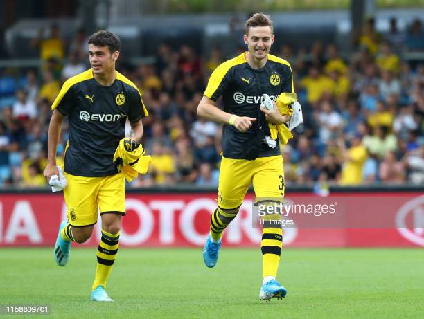 Giovanni Reyna of Borussia Dortmund and Jacob Bruun Larsen of Borussia Dortmund look on prior to the preseason friendly match between Udinese Calcio...