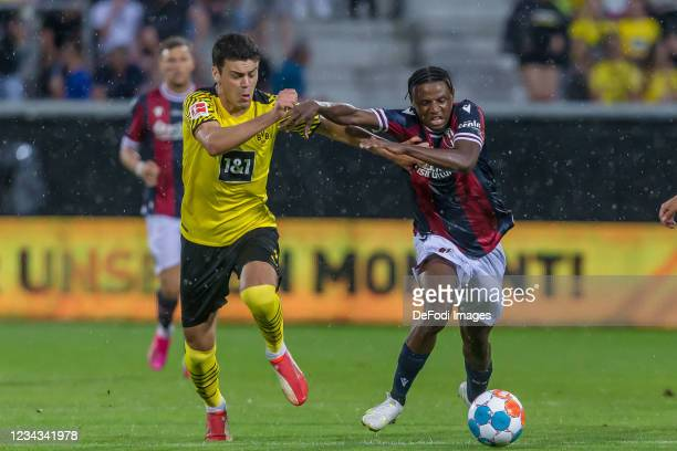 Giovanni Reyna of Borussia Dortmund and Kingsley Michael of FC Bologna battle for the ball during the Preseason Friendly Match between Borussia...