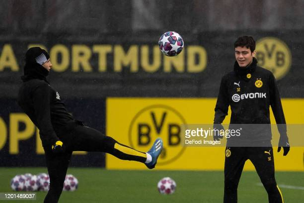 Giovanni Reyna of Borussia Dortmund and Tobias Raschl of Borussia Dortmund battle for the ball during Training Session And Press Conference of...