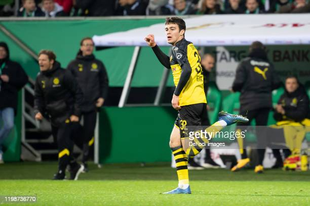 Giovanni Reyna of Borussia Dortmund celebrates after scoring his team's second goal during the DFB Cup round of sixteen match between SV Werder...