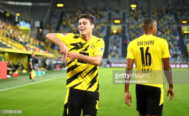 Giovanni Reyna of Borussia Dortmund celebrates after scoring his team's first goal during the Bundesliga match between Borussia Dortmund and Borussia...