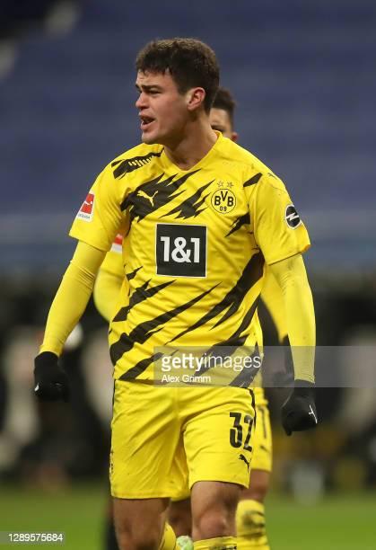 Giovanni Reyna of Borussia Dortmund celebrates after scoring his team's first goal during the Bundesliga match between Eintracht Frankfurt and...