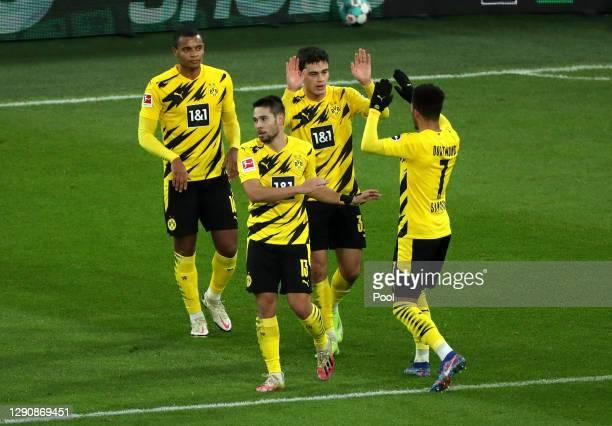 Giovanni Reyna of Borussia Dortmund celebrates with teammates Manuel Akanji, Raphael Guerreiro and Jadon Sancho after scoring his team's first goal...