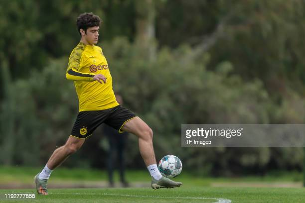 Giovanni Reyna of Borussia Dortmund controls the ball during day six of the Borussia Dortmund winter training camp on January 9 2020 in Marbella Spain
