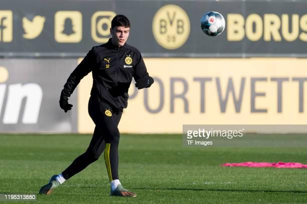 Giovanni Reyna of Borussia Dortmund controls the ball during the Borussia Dortmund training session on January 21 2020 in Dortmund Germany