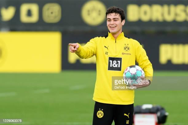 Giovanni Reyna of Borussia Dortmund gestures during the Borussia Dortmund Training session on October 13, 2020 in Dortmund, Germany.