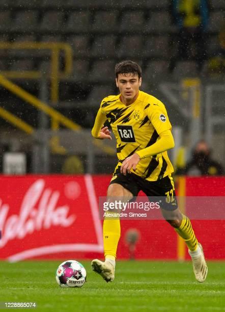 Giovanni Reyna of Borussia Dortmund in action during the Bundesliga match between Borussia Dortmund and Sport-Club Freiburg at the Signal Iduna Park...