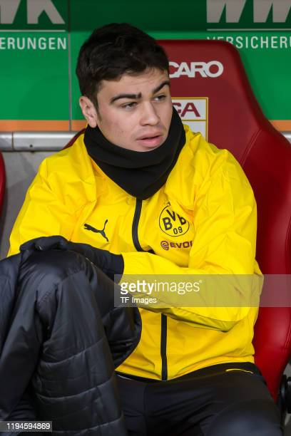 Giovanni Reyna of Borussia Dortmund sits on the bench during the Bundesliga match between FC Augsburg and Borussia Dortmund at WWKArena on January 18...