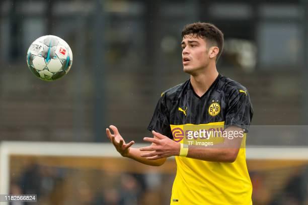 Giovanni Reyna of Borussia Dortmund U19 looks on during the match between Borussia Dortmund U19 and FC Schalke 04 U19 on October 20 2019 in Dortmund...