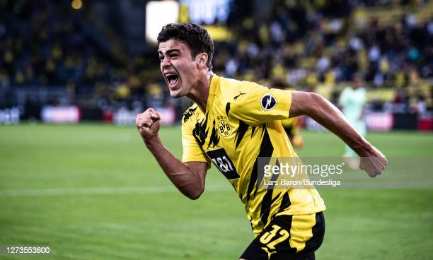 Giovanni Reyna of Dortmund celebrates after scoring his teams first goal during the Bundesliga match between Borussia Dortmund and Borussia...