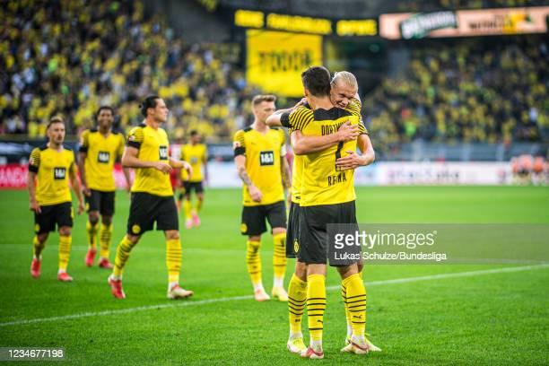 Giovanni Reyna of Dortmund celebrates his teams goal with Erling Haaland of Dortmund during the Bundesliga match between Borussia Dortmund and...