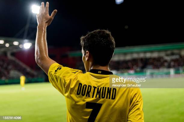 Giovanni Reyna of Dortmund gestures during the DFB Cup first round match between SV Wehen Wiesbaden and Borussia Dortmund at BRITA-Arena on August...
