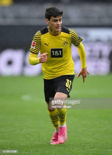 Giovanni Reyna of Dortmund in action during the Bundesliga match between Borussia Dortmund and Bayer 04 Leverkusen at Signal Iduna Park on May 22,...