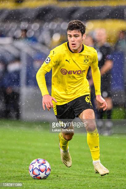 Giovanni Reyna of Dortmund kicks the ball during the UEFA Champions League Group F stage match between Borussia Dortmund and Zenit St. Petersburg at...