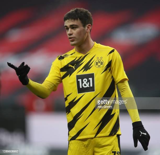 Giovanni Reyna of Dortmund reacts during the Bundesliga match between Eintracht Frankfurt and Borussia Dortmund at Deutsche Bank Park on December 05,...