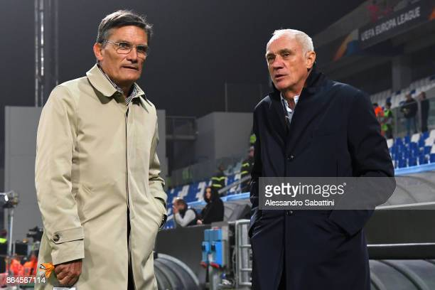 Giovanni Sartori and Antonio Percassi president of Atalanta before the UEFA Europa League group E match between Atalanta and Apollon Limassol at...