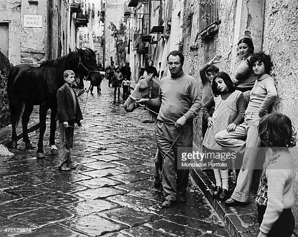 'Giovanni Sasso's father dragging a horse beside his children along the Rampa a Mare The young man just burned his motherinlaw's house door because...