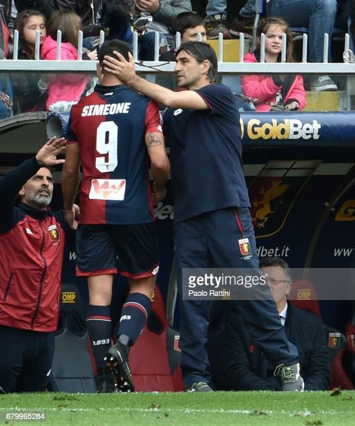 Giovanni Simeone and Ivan Juric during the Serie A match between Genoa CFC and FC Internazionale at Stadio Luigi Ferraris on May 7 2017 in Genoa Italy