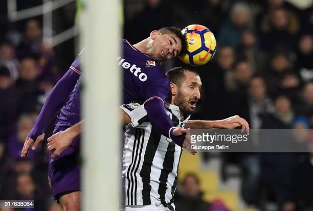 Giovanni Simeone of ACF Fiorentina and Giorgio Chiellini of Juventus in action during the serie A match between ACF Fiorentina and Juventus at Stadio...