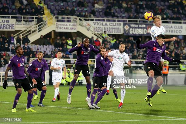 Giovanni Simeone of ACF Fiorentina battles for the ball with Antonino La Gumina of Empoli FC during the Serie A match between ACF Fiorentina and...