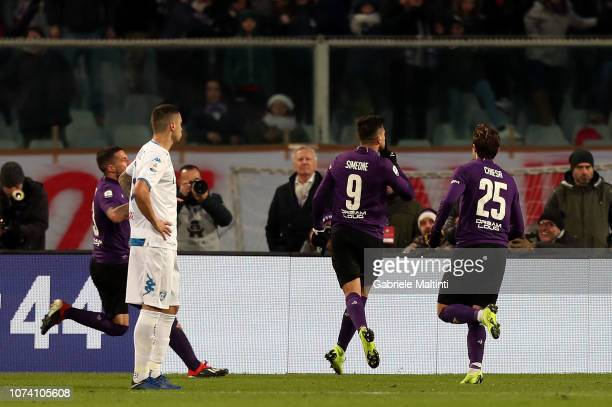 Giovanni Simeone of ACF Fiorentina celebrates after scoring a goal during the Serie A match between ACF Fiorentina and Empoli at Stadio Artemio...