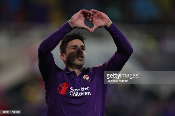 Giovanni Simeone of ACF Fiorentina celebrates after scoring a goal during the Coppa Italia match between ACF Fiorentina and AS Roma at Stadio Artemio...