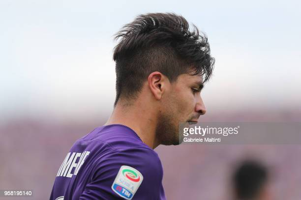 Giovanni Simeone of ACF Fiorentina in action during the serie A match between ACF Fiorentina and Cagliari Calcio at Stadio Artemio Franchi on May 13...