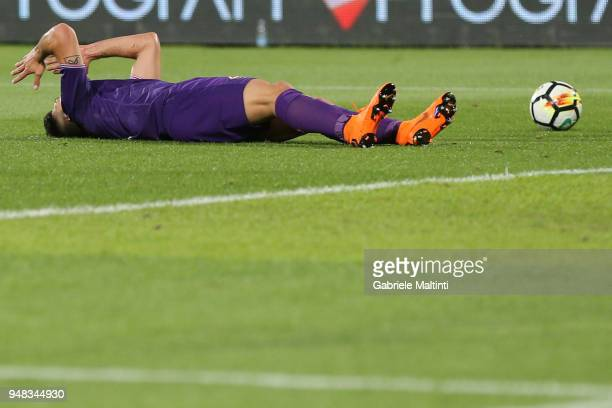 Giovanni Simeone of ACF Fiorentina reacts during the serie A match between ACF Fiorentina and SS Lazio at Stadio Artemio Franchi on April 18 2018 in...
