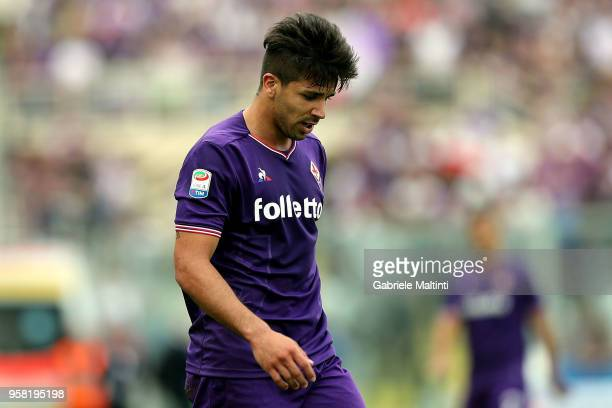 Giovanni Simeone of ACF Fiorentina reacts during the serie A match between ACF Fiorentina and Cagliari Calcio at Stadio Artemio Franchi on May 13...
