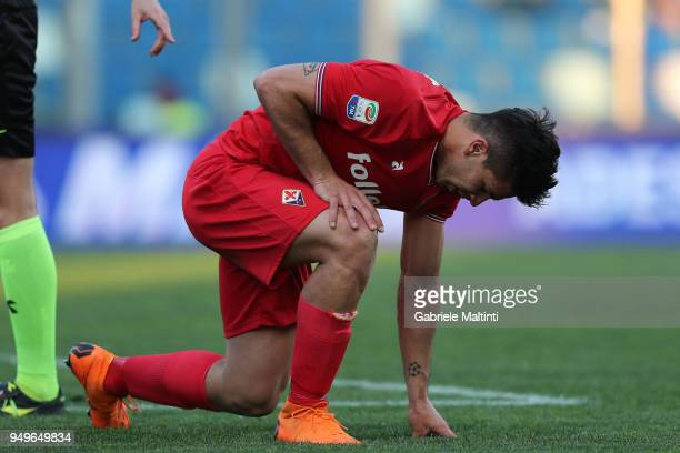 Giovanni Simeone of ACF Fiorentina shows his dejection during the serie A match between US Sassuolo and ACF Fiorentina at Mapei Stadium Citta' del...