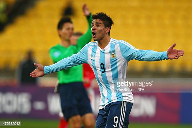 Giovanni Simeone of Argentina reacts after scoring a goal from offside position during the FIFA U20 World Cup New Zealand 2015 Group B match between...