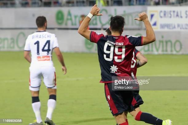 Giovanni Simeone of Cagliari celebrates after scoring goal 10 during the Serie A match between Cagliari Calcio and Genoa CFC at Sardegna Arena on...