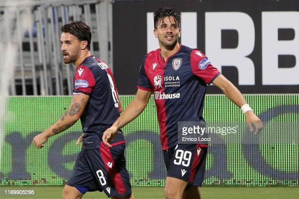 Giovanni Simeone of Cagliari celebrates after scoring goal 10 during the Serie A match between Cagliari Calcio and Genoa CFC at Sardegna Arena on...