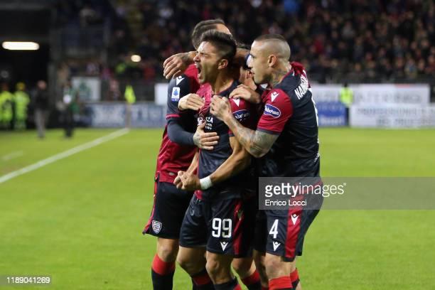 Giovanni Simeone of Cagliari celebrates his goal 1- 0 during the Serie A match between Cagliari Calcio and SS Lazio at Sardegna Arena on December 16,...