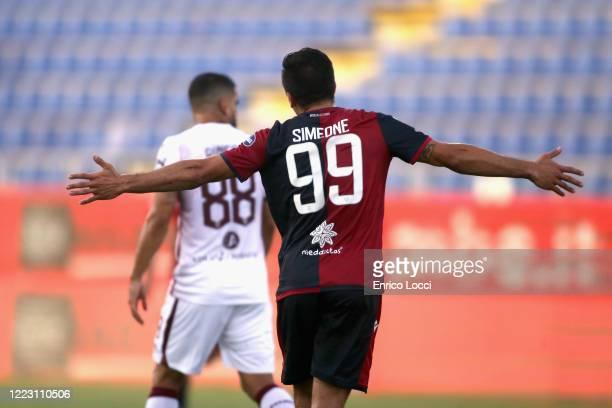 Giovanni Simeone of Cagliari celebrates his goal 20 during the Serie A match between Cagliari Calcio and Torino FC at Sardegna Arena on June 27 2020...