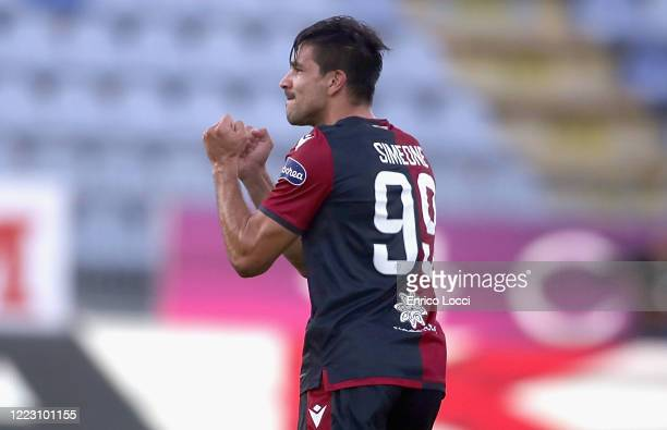 Giovanni Simeone of Cagliari celebrates his goal during the Serie A match between Cagliari Calcio and Torino FC at Sardegna Arena on June 27 2020 in...