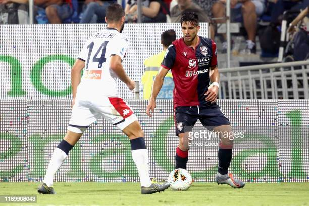 Giovanni Simeone of Cagliari in action during the Serie A match between Cagliari Calcio and Genoa CFC at Sardegna Arena on September 20, 2019 in...